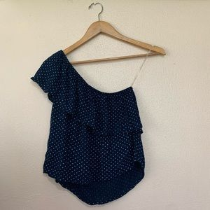 American Eagle One Shoulder Top Navy Blue XS